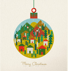 christmas vintage card of retro holiday bauble vector image