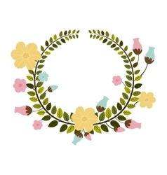 colorful border of leaves with pastel flowers vector image