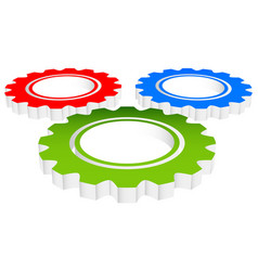 colorful composition of 3d gears cogwheels vector image