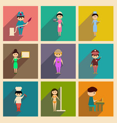 Concept of flat icons with long shadow people vector