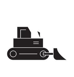 construction bulldozer black concept icon vector image