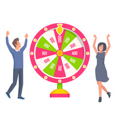couple playing in fortune wheel and winning money vector image