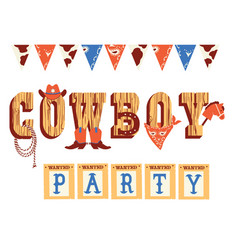 Cowboy text with western decoration and wild west vector