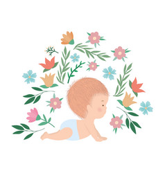 Cute baboy with flowers and leaves vector