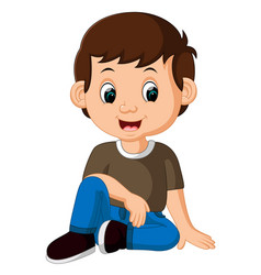 cute boy sitting on the floor vector image
