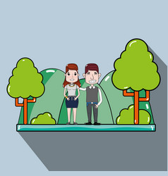 Cute couple in the park with casual clothes vector