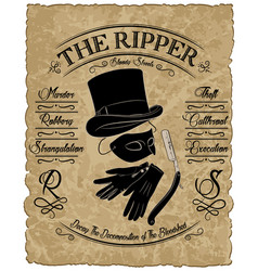 Cylinder hat gloves mask and straight razor vector