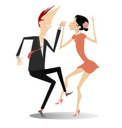 dancing young couple isolated vector image