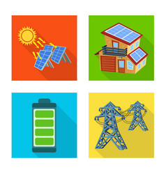 Design solar and panel icon collection vector
