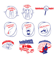 Doodle medical logos and labels set vector