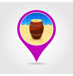 Drum pin map icon Summer Vacation vector