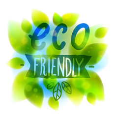 eco friendly words hand written fresh green vector image