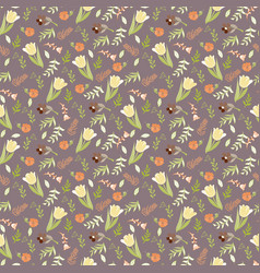 elegant seamless pattern with tulips and wild vector image