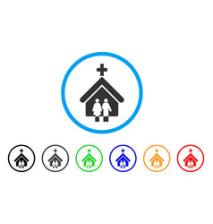 family church rounded icon vector image