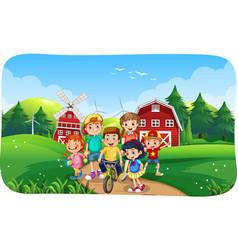 Farm scene with many children vector