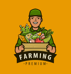 Farmer with box fresh vegetables agriculture vector
