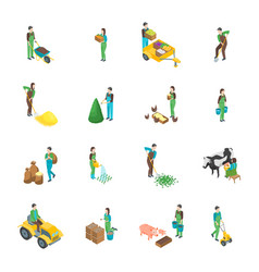farmers at work 3d icons set isometric view vector image