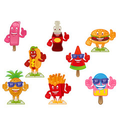 fast food cartoon character set vector image