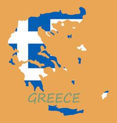 Flag map of greece vector