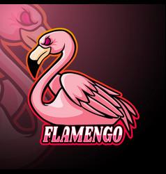 flamingo esport logo mascot design vector image
