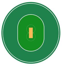 Flat green cricket ground top view cricket field vector