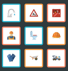 Flat icons toolkit mitten caution and other vector