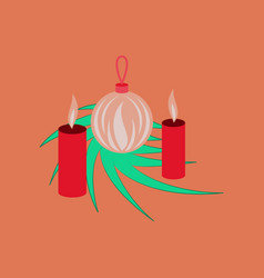 Flat on background of christmas balls vector