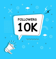 Followers 10k in bubble on bright blue vector