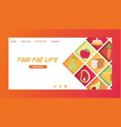 food landing page meal vegetables fruits vector image