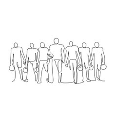 Football player team standing formation vector