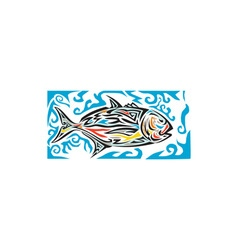 Giant Trevally Side Tribal Art vector