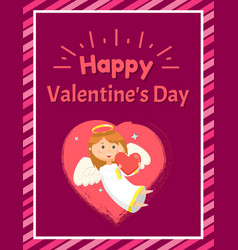 girl with heart angel and valentine day vector image