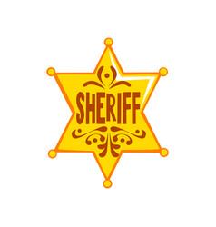 golden hexagonal sheriff star badge vector image