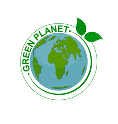 green planet symbol with map and green leaves vector image