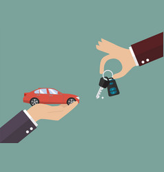 hand gives a keys to other hand with car vector image