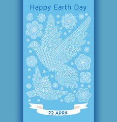 happy earth day background with ornate birds and vector image