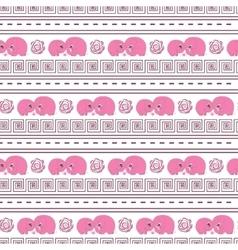 Horizontal seamless pattern pink cartoon elefants vector