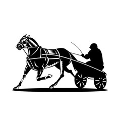 Horse and jockey harness racing vector