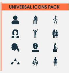 Human icons set with businesswoman network vector