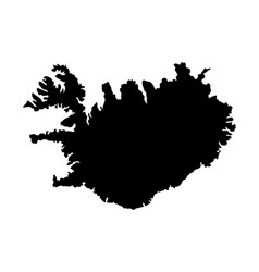 Iceland island map silhouette vector