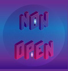 Isometric now open short message element vector