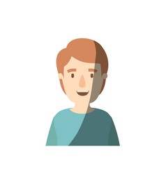 Light color shading caricature half body young man vector