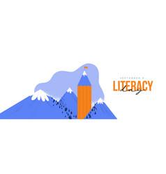 Literacy day card pencil book mountain landscape vector