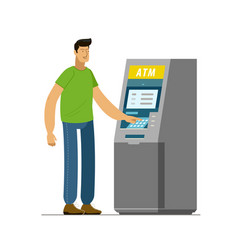 man uses an atm business banking vector image