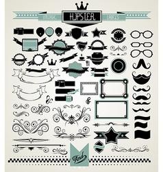 mega set vintage labels for your hipster vector image