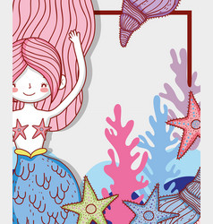 Mermaid woman with starfish and seaweed with vector