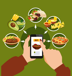 Mexican food buying online composition vector