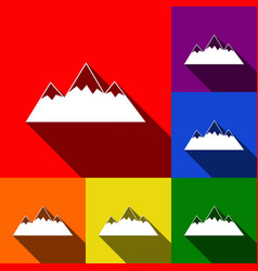 mountain sign set of icons vector image