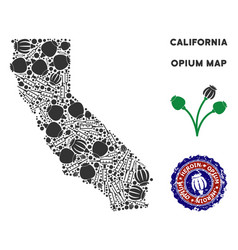 Opium drugs california map composition vector