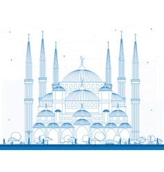 Outline Blue Mosque in Istanbul Turkey vector